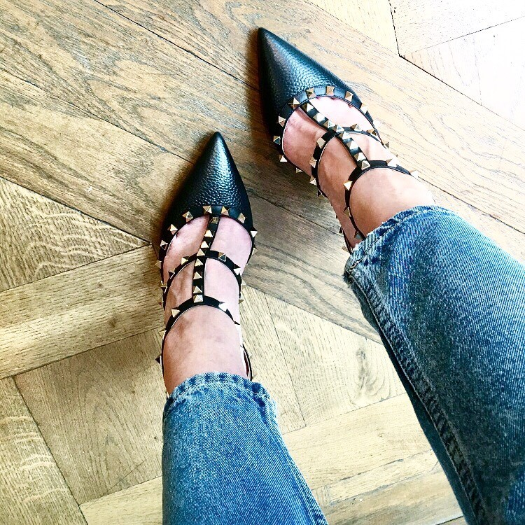 Studded Black Valentino Rockstud shoes. A massive influence for interior design trends in 2017. Spiked and studded accessories have had a huge resurgence. Click on the link for interior design blog ideas and solutions.