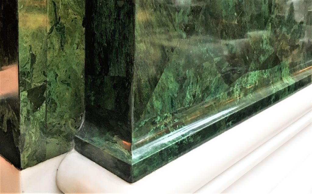 Green marble detailing at The Ned Hotel, London. A former bank, The Ned oozes sophistication and class and is steeped in history.