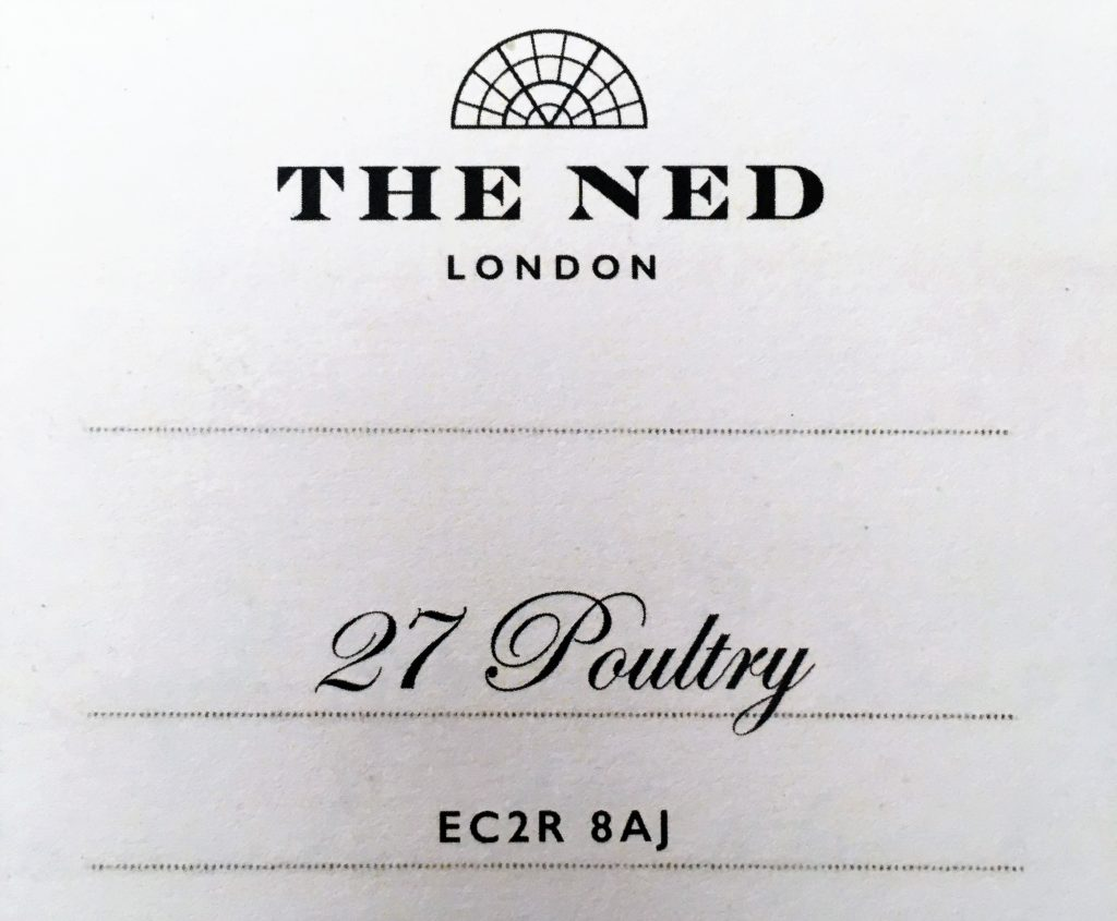 The check/bill at The Ned Hotel, London. A former bank, The Ned oozes sophistication and class and is steeped in history.