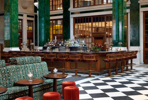 Interior inspiration from The Ned hotel, London. The Green marble pillars accent the space and this is something that you to can incorporate in your home...