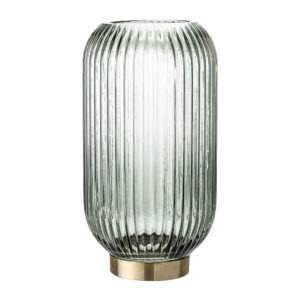 Ridged Glass Lantern - Green/Brass