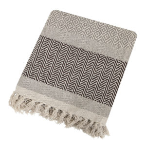 Tassel Edged Cotton Throw - 160x130cm - Brown