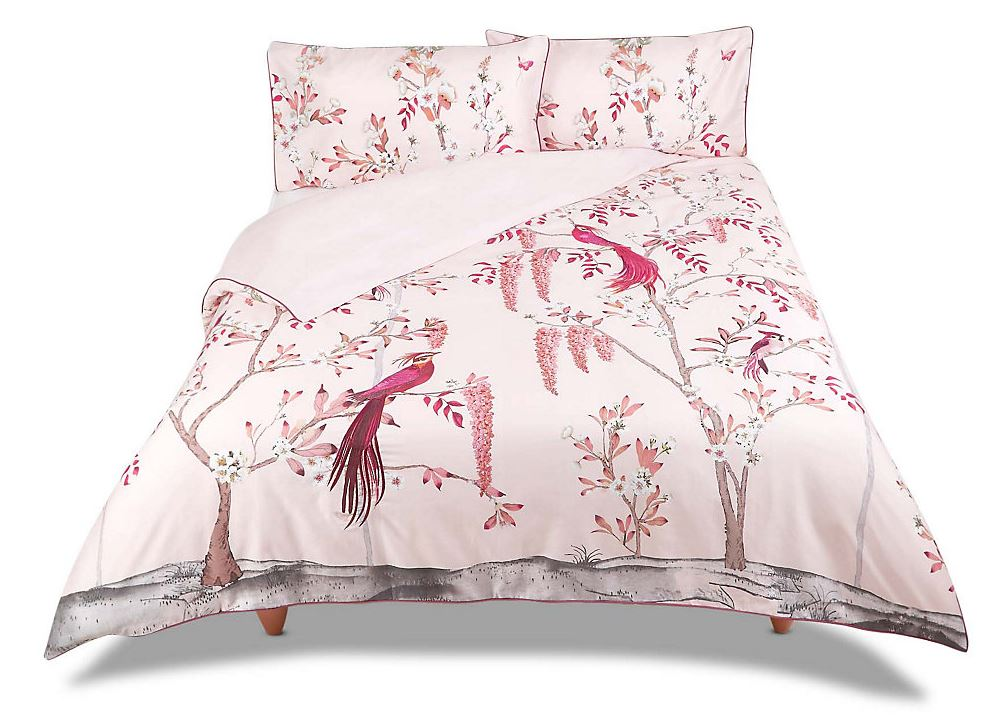 The Aurelia Print and Embroidery Bedding Set is a gorgeous statement for the bedroom, if you're looking to achieve a Millennial Pink aesthetic. For more on this hot interior design and fashion trend, click on the blog post...