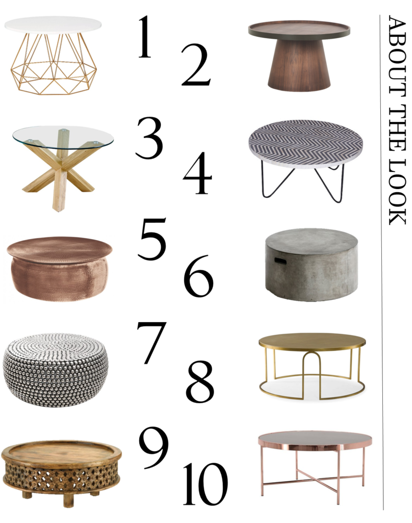 A carefully curated selection of circular contemporary coffee tables to help make your home look more gorgeous. From metallics to marble and wood finishes - the coffee table offers style and substance. Click to see my full edit of stylish options.