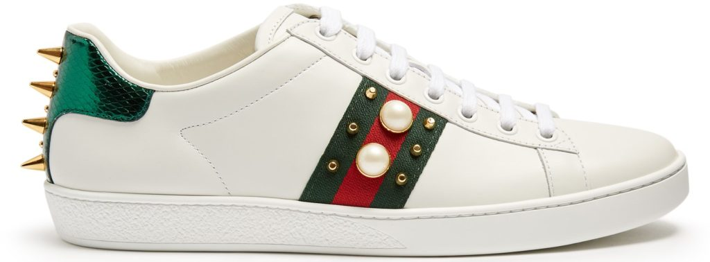 Gucci Ace Trainers with classic Italian styling in red and green, studs and spikes. Interior inspiration in-line with look and feel of The Ned hotel, London.