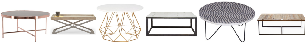 A collection of contemporary coffee tables to enhance any living space. Use golds, bronzes, wood and marble to keep it fresh. For more ideas, click on the article...