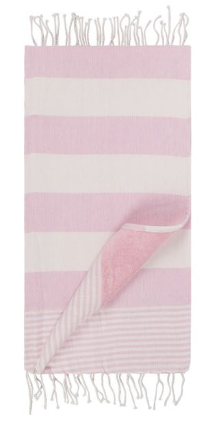Marinette - Regate Beach Towel in Rose is a gorgeous bathroom piece if you're looking to achieve a Millennial Pink aesthetic. For more on this hot interior design and fashion trend, click on the blog post...