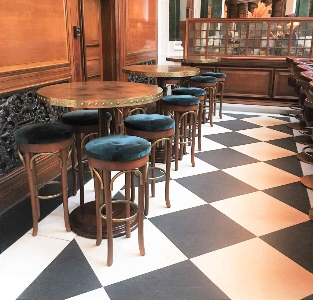 The beautifully upholstered bar stools at The Ned hotel, London. Interior inspiration runs thick and fast at this gorgeous elegant rendezvous.