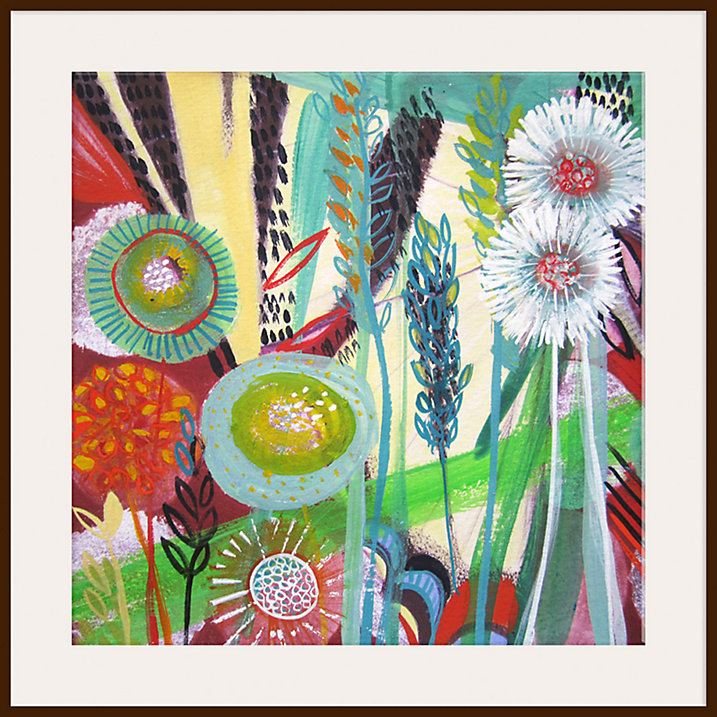 Shyama Ruffell - New Day, Dark Brown Framed Print - The perfect way to tap into the bright, summer florals trend. Click on the post for more bright blooms!