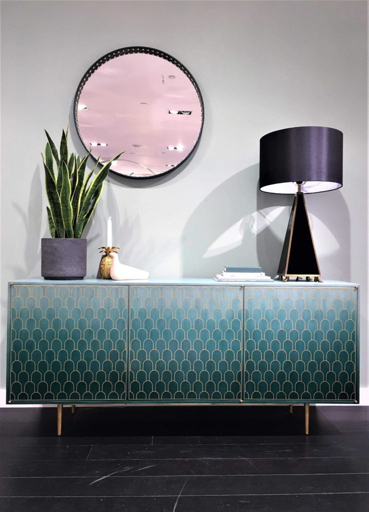 Beautiful Bespoke Sideboard With Bone Inlay And Brass Accessorised Some Quirky Jonathan Adler Pieces