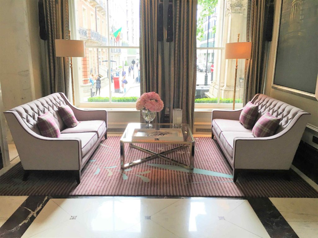 The gorgeous seating area in the entrance of The Langham, London. *Girl About House has been nominated for 'Best Newcomer' blog at the Amara Interior Blog Awards 2017. This is a really big deal for GAH, being such a new interior design blog. Click on the link for loads of interior design ideas, amazing product recommendations and inspirational looks*. #iba17 #interiordesignblog