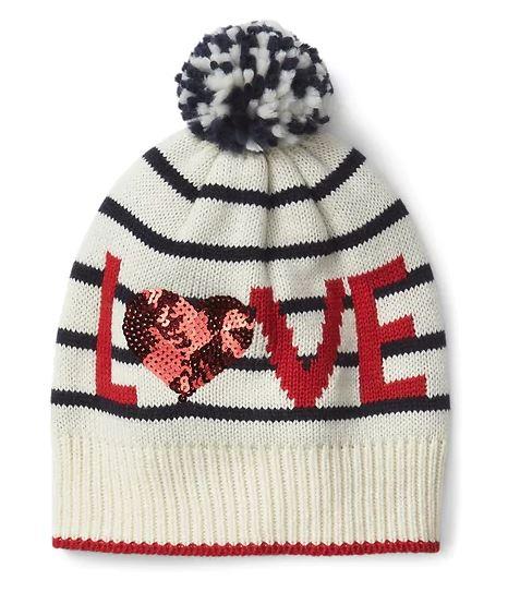 Festive Gift - Gap - Sequin Love Pom-Pom Beanie