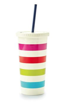 Festive Gift - Kate Spade - Plastic Tumbler with Straw - Candy Stripe