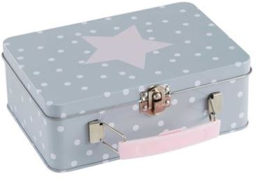 Festive Gift - Maisons Du Monde - Pastel Small Grey and Pink Aluminium Suitcase