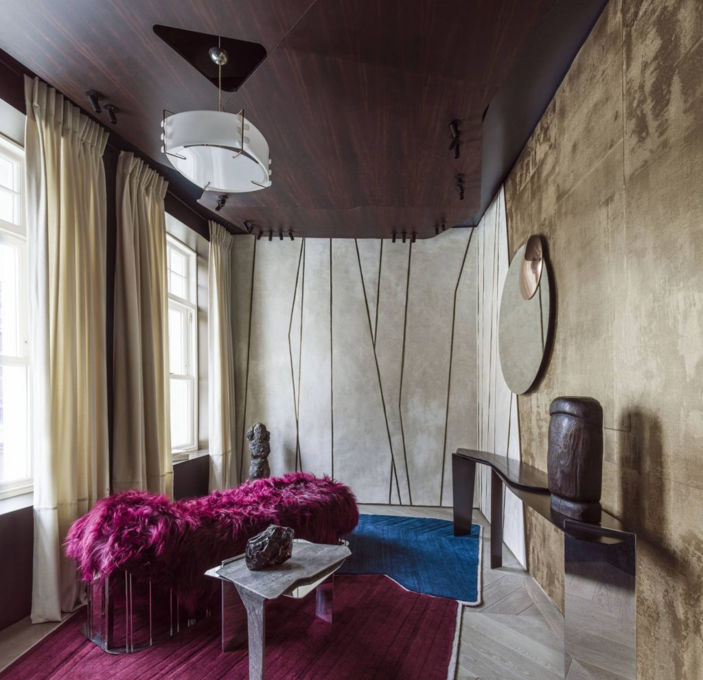 Holiday House London - A small salon-esque study had been brought to life by brother-duo Bismut and Bismut for the Invisible collection. Pairing highly textural pieces like 'The Very Hairy Sofa' with clean, geometric lines throughout had resulted in a really interesting outcome.