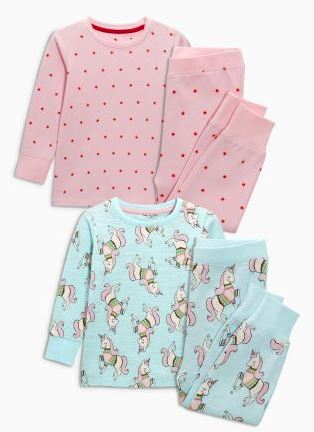 Festive Gift - Pink & Turquoise Unicorn Snuggle Pyjamas Two Pack