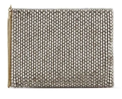 Festive Gift - Reiss - Cindy Embellish Beaded Clutch Bag - Silver