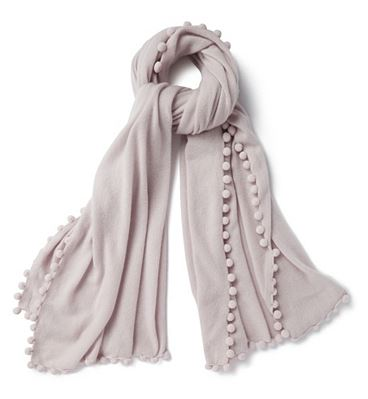 Festive Gift - The White Company - Cashmere Ultimate Pom-Pom Shawl - Natural