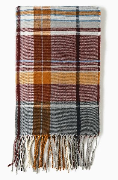 Zara - Checked Scarf with Fringe