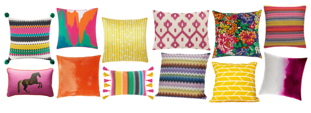 Bright Cushion Edit: Even if the weather is more blizzard than Miami beach outside, these beauties will bring the sunshine! Brights have made a real comeback and are a great way to add a vibrant touch to a neutral backdrop. I always suggest mixing trusted plains alongside large and small prints, colour-blocked stripes and photographic motifs. I like to have some repetition but you can totally mix and match for a more eclectic, bohemian approach.