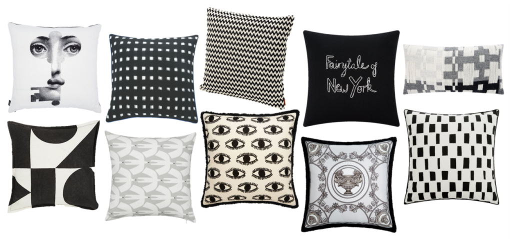 Monochrome Cushion Edit: This monochromatic cushion edit champions quirky graphic prints alongside timeless Missoni chevrons and an opulent touch of Versace luxe. You can also throw in some fun, Crayola brights (#1) which feel incredibly fresh alongside this desaturated palette or keep it clean and decidedly '90s.