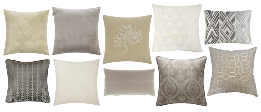 New Neutral Cushion Edit - As seen on the catwalks, the new neutrals extend from trusted greys and cream to beige, greige, subtle blush and camel shades. We're also celebrating soft metallics in every shade to build a classic base. I love to mix these pretty, understated shades with denim blues and fresh greenery.