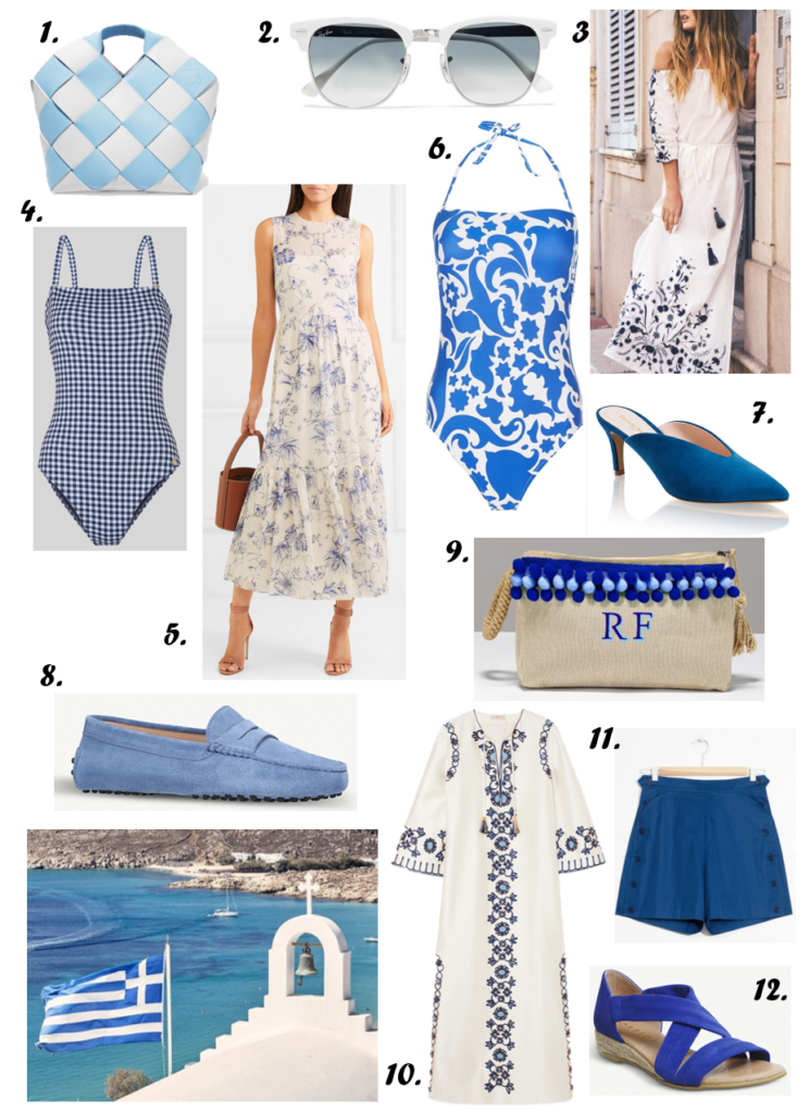 This combo is undoubtedly one of my absolute favourites.  Ever-chic, the marriage of blue and white - celebrated in the Greek flag - is always a happy one. This can be done in so many ways but this year, it's all about mixing materials, textures and finishes both in dressing yourself and your space. Mykonos style rejoiced!